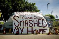Neil Wainwright's mobile home, which he claims was smashed by Cornwall Council when they moved it
